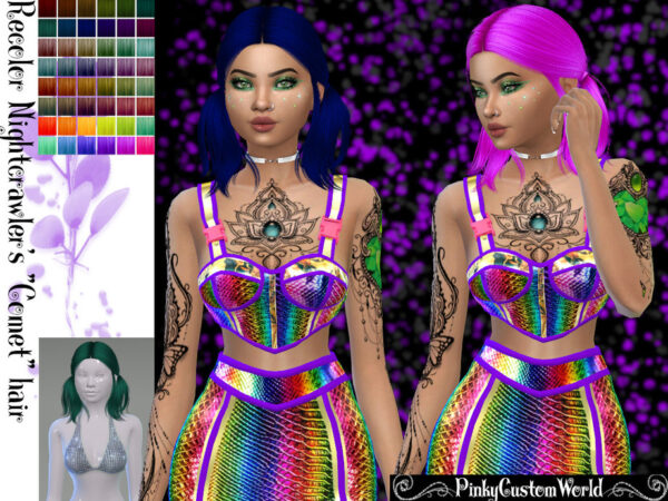 The Sims Resource: Nightcrawlers Comet Hair Recolored by PinkyCustomWorld for Sims 4