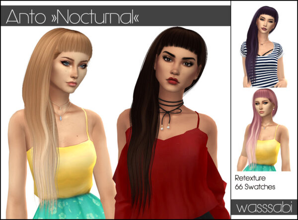 Wasssabi Sims: Anto`s Nocturnal hair recolored for Sims 4