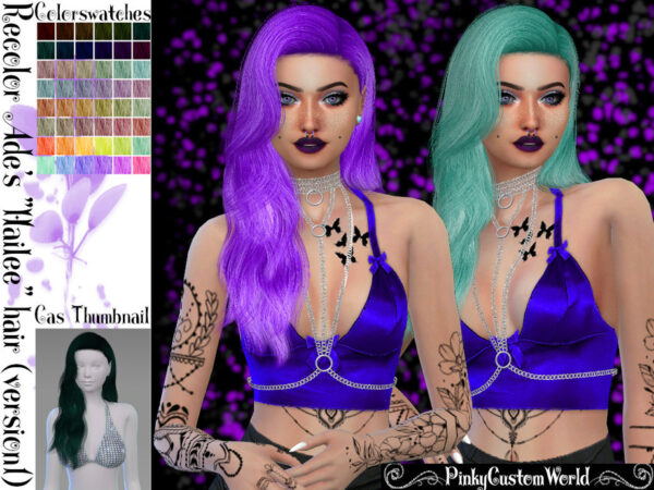 The Sims Resource: Ades Hailee Hair Recolored by PinkyCustomWorld for Sims 4