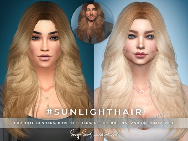 Sonya Sims: Pearl and Sunlight Hair for Sims 4