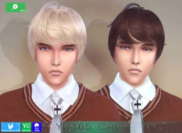 NewSea: YU165 Carl Hair for Sims 4