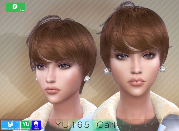 NewSea: YU165 Carl Hairstyle for Her for Sims 4