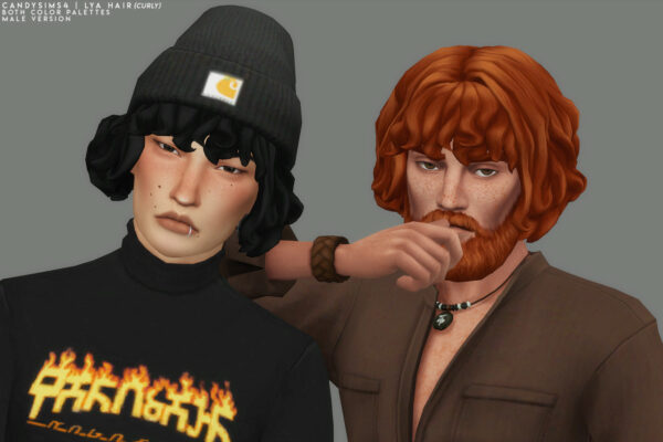 Candy Sims 4: Lya Hairstyle Curly Edition for Sims 4