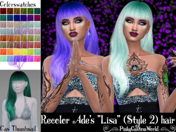 The Sims Resource: Ades Lisa Style 2 hair recolored by PinkyCustomWorld for Sims 4