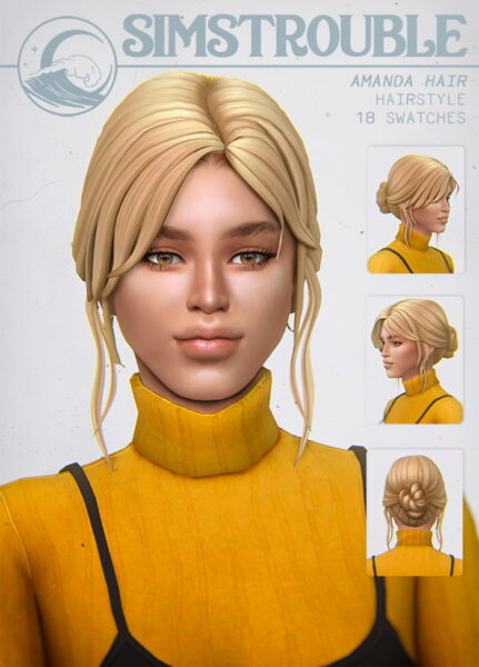 Simstrouble: Amanda Hair for Sims 4