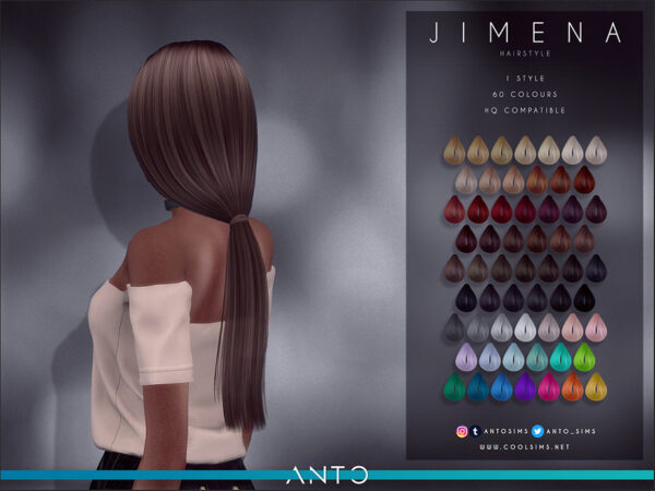 The Sims Resource: Jimena Hair by Anto for Sims 4