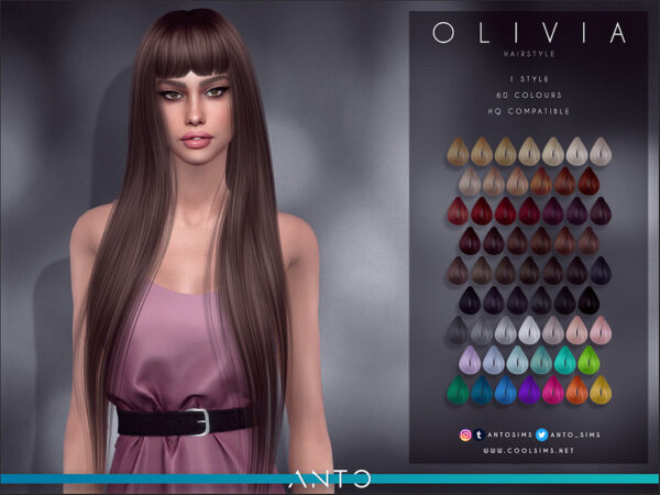 The Sims Resource: Olivia Hair by Anto for Sims 4