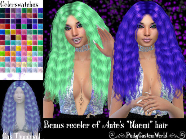 The Sims Resource: Antos Naomi hair recolored by PinkyCustomWorld for Sims 4