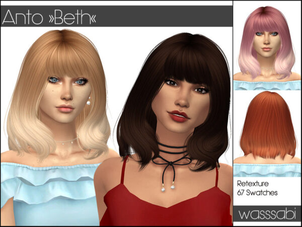The Sims Resource: Anto`s Beth Hair Retextured by wasssabi for Sims 4