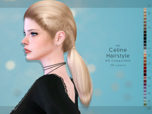 The Sims Resource: Celine Hairstyle by DarkNighTt for Sims 4