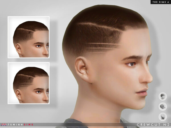 The Sims Resource: Crewcut Hair N2 by TsminhSims for Sims 4