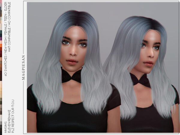The Sims Resource: Eleven Remake Hair by magpiesan for Sims 4