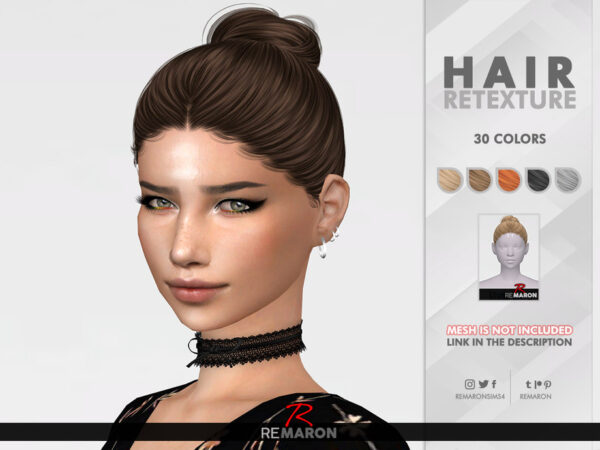The Sims Resource: Kendall Hair Retextured by remaron for Sims 4