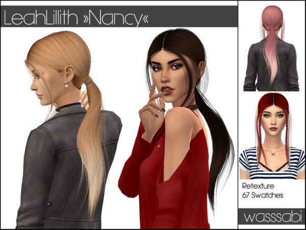 The Sims Resource: LeahLillith`s Nancy Hair Retextured by wasssabi for Sims 4