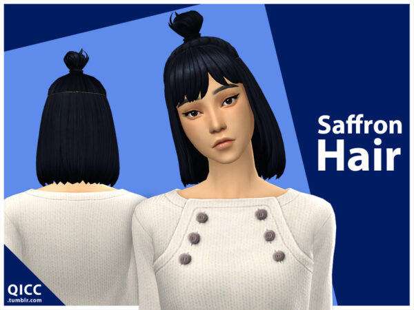 The Sims Resource: Saffron Hair by qicc for Sims 4