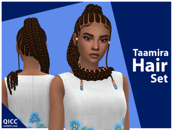 The Sims Resource: Taamira Hair Set by qicc for Sims 4