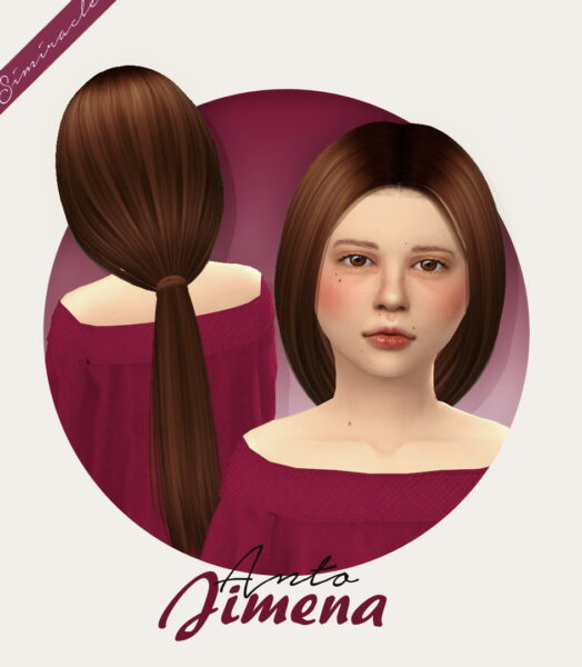 Simiracle: Anto`s Jimena Hairstyle Retextured Kids Version for Sims 4