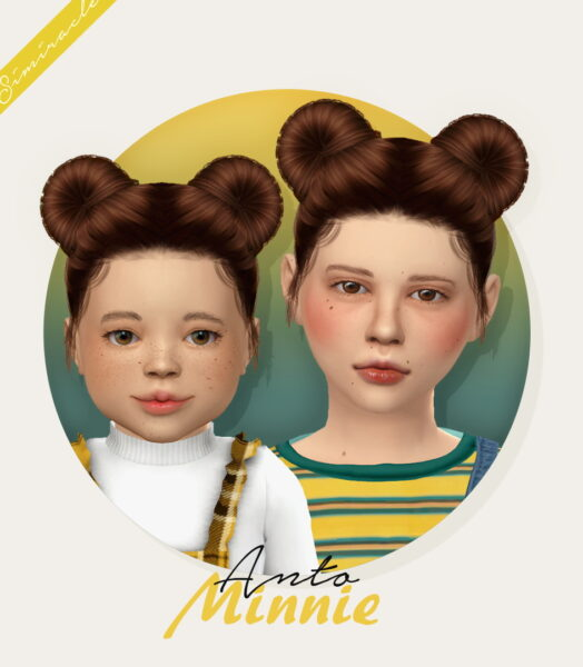 Simiracle: Anto`s Minnie Hairstyle Retextured   Kids and Toddlers Versions for Sims 4