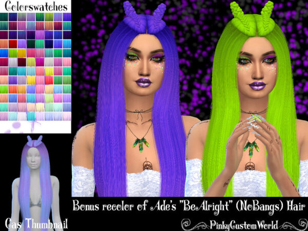 The Sims Resource: Ades BeAlright hair recolored by PinkyCustomWorld for Sims 4