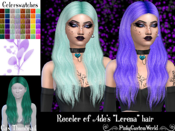 The Sims Resource: Ades Lorena hair recolored by PinkyCustomWorld for Sims 4