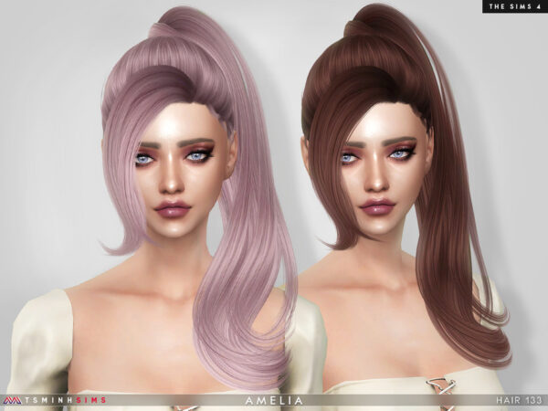 The Sims Resource: Amelia Hair 133 by TsminhSims for Sims 4