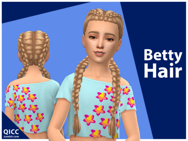 The Sims Resource: Betty Hair by qicc for Sims 4