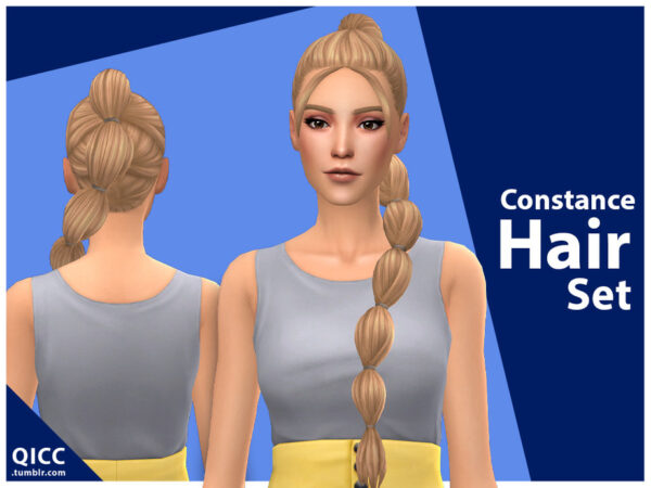 The Sims Resource: Constance Hair Set by qicc for Sims 4