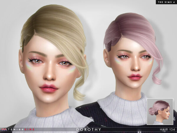 The Sims Resource: Dorothy Hair 134 by TsminhSims for Sims 4