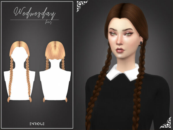 The Sims Resource: Wednesday Hairstyle by Enriques4 for Sims 4