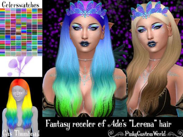 The Sims Resource: Fantasy recolor of Ades Lorena hair for Sims 4