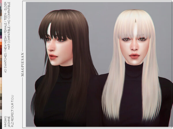 The Sims Resource: Jasmine Hair by magpiesan for Sims 4