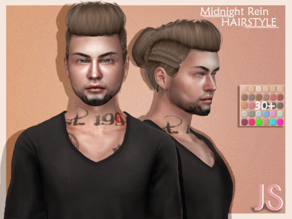 The Sims Resource: Midnight Rein Hair by JavaSims for Sims 4