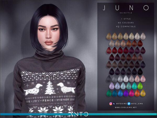 The Sims Resource: Juno Hair by Anto for Sims 4