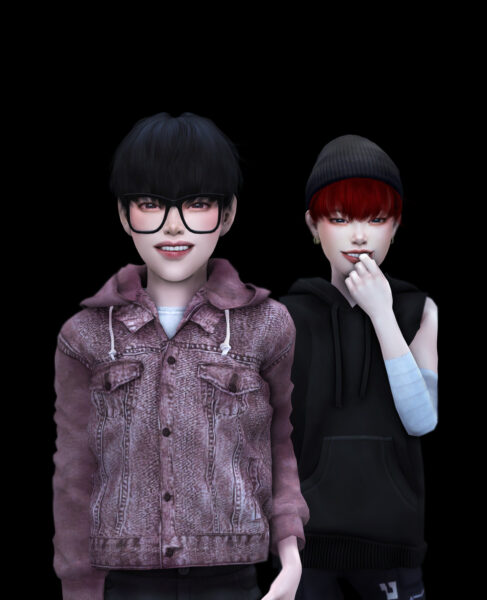 Snoopy: Monster Loey hair kids version for Sims 4
