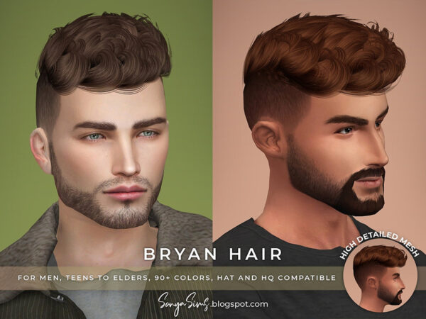 The Sims Resource: Bryan Hair by SonyaSims for Sims 4