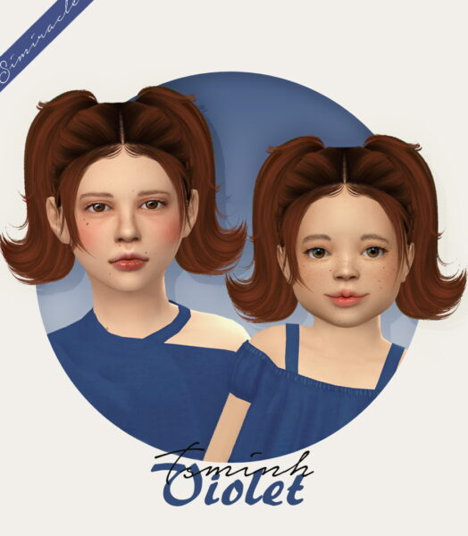 Simiracle: Tsminh `s Violet Hairstyle Retextured For Girls for Sims 4