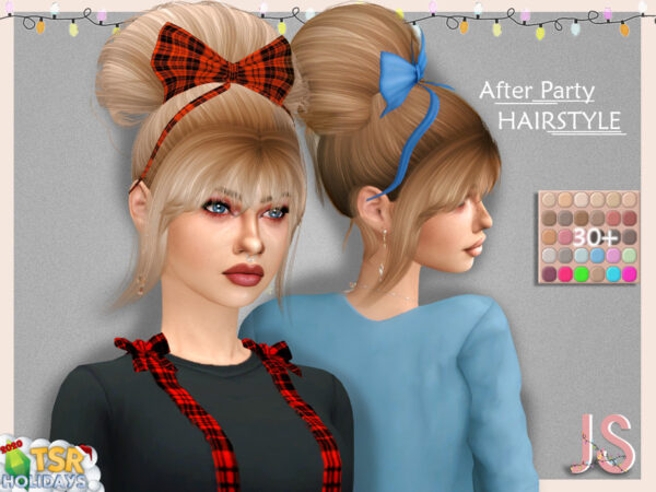 The Sims Resource: After Party Hairstyle by JavaSims for Sims 4