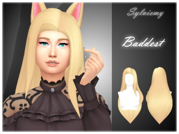 The Sims Resource: Ahri The Baddest Hairstyle Set by Sylviemy for Sims 4