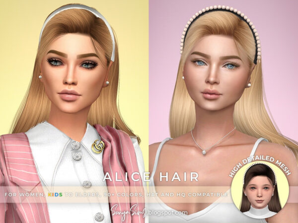 The Sims Resource: Alice Hair by SonyaSimsCC for Sims 4