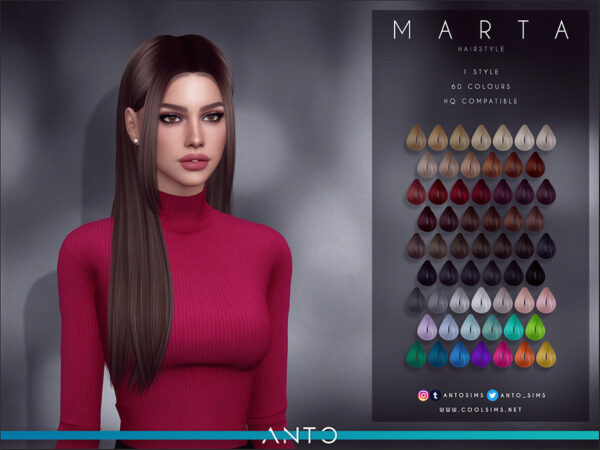 The Sims Resource: Marta Hairstyle by Anto for Sims 4