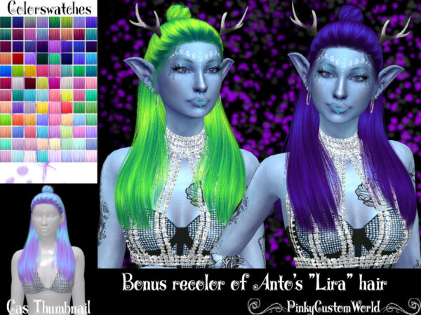 The Sims Resource: Antos Lira hair recolored by PinkyCustomWorld for Sims 4