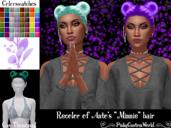 The Sims Resource: Antos Minnie hair recolored by PinkyCustomWorld for Sims 4