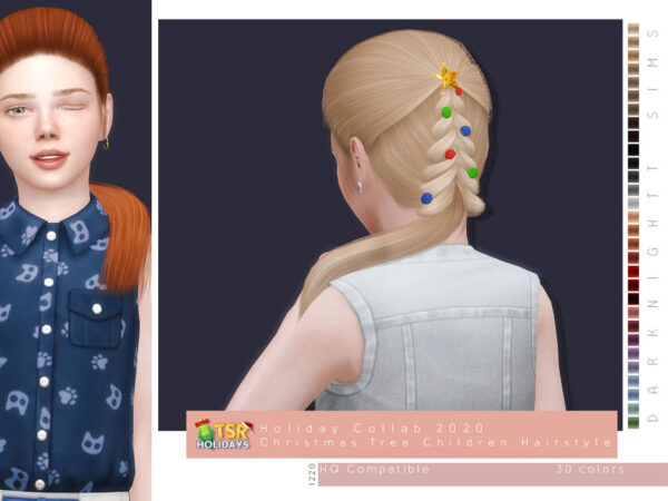 The Sims Resource: Christmas Tree Hairstyle for Children by DarkNighTt for Sims 4
