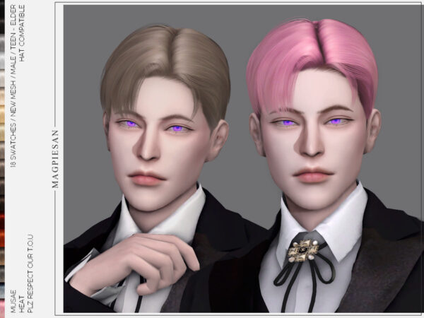 The Sims Resource: Heat Hair by magpiesan for Sims 4