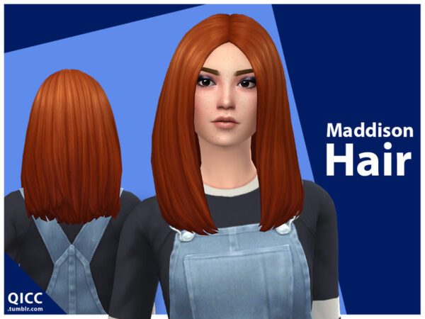 The Sims Resource: Maddison Hair by qicc for Sims 4