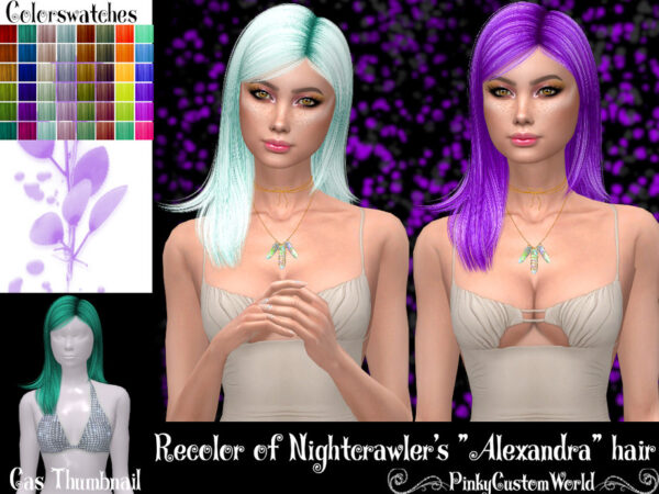 The Sims Resource: Nightcrawlers Alexandra hair recolored by PinkyCustomWorld for Sims 4