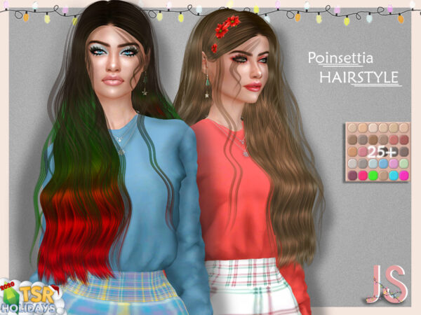 The Sims Resource: Poinsettia Hairstyle by JavaSims for Sims 4