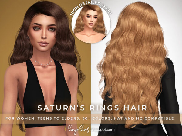 The Sims Resource: Saturns Rings Hair by SonyaSimsCC for Sims 4