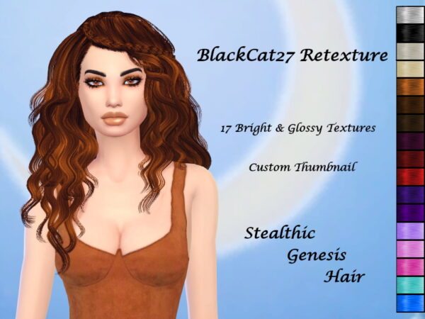 The Sims Resource: Stealthic`s Genesis Hair Retextured by BlackCat27 for Sims 4