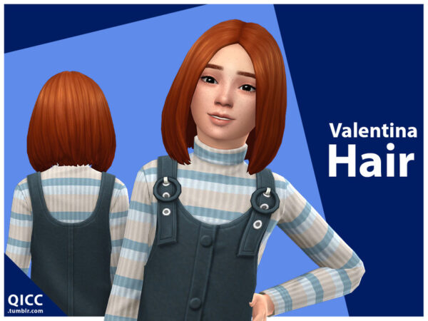 The Sims Resource: Valentina Hair by qicc for Sims 4